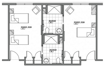 Memory care mill creek senior living community for Typical living room layouts